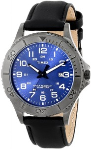 Timex T2P392 Elevated Classics Gunmetal-Tone Dress Watch with Black Genuine Leather Band