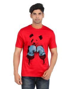 Grey Cotton Panda Printed T-Shirt For Men