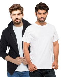 Ace - Combo Deal - 1 Black Fleece Hoodie with White Panda Cotton T Shirt For Mens