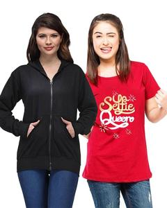 Ace - Black Fleece Hoodie & Red Printed Funky T Shirt for Her