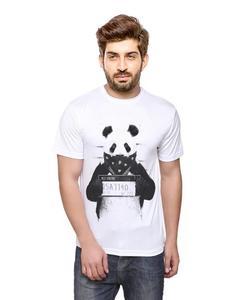 Yellow Cotton Wanted Panda Printed T-Shirt For Him