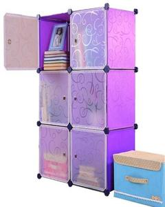 DIY 6 Cubes Elegant Purple Stripe Storage Cabinet