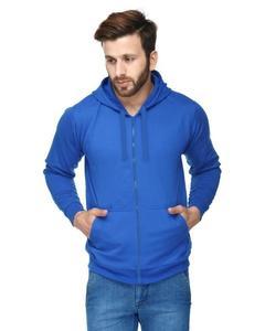 Royal Blue Fleece Printed Hoodie for Men