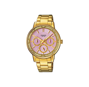 Casio LTP-2087G-6AVDF ENTICER Series Analog Stainless Steel Gold Ion Plated & Triple Fold Clasp Womens Watch
