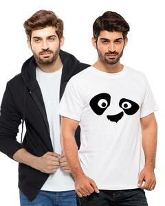Ace - Combo Deal - 1 Black Fleece Hoodie with Yellow Eyes Panda Cotton T Shirt For Mens