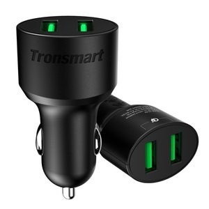 Tronsmart 36 Watt 2 Port USB Car Charger Both Support Quick Charge 3.0 – CC2TF