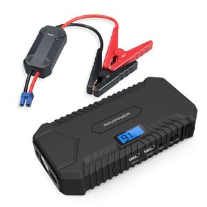 RAVPower 14000mah Car Jump Starter 550A Peak 12V (up to 5L Gas  3L Diesel Engine) Booster Battery Charger with 4.2A output Built-In LCD Display & LED Flashlight
