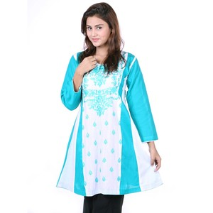Embroidered Frowk Kurta DC313 - Sea Green and Whit ...