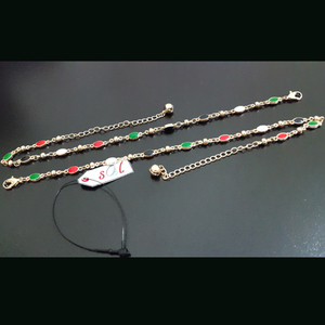 JOS Stylish Fashion Anklet with Golden Tone Multicolor