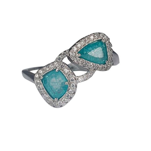 Zed Eye Creations Mystic Topaz Ring for Women IR056 Light Blue and Silver