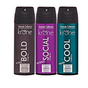 Krone Pack Of 3 Attitude Series Body Spray 200 ml