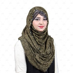 Olive Lace Hijab For Women Pn050 Green