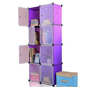 Oddity Diy 8 Cubes Elegant Stripe Storage Cabinet OD166 Purple