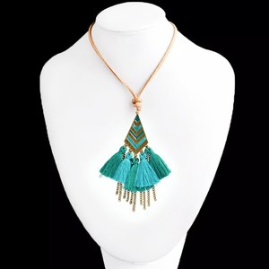 Vintage Leather Necklace for Women Sea Green
