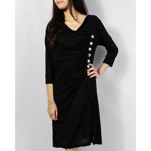 Ladies Button Embellished Tunic - Black