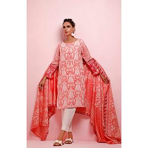 Oaks 2 Pcs Unstitched Suit for Women OL2P-3500-B Peach Pink