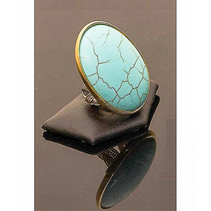 Gold Plated Feroza Ring For Women Silver & Blue