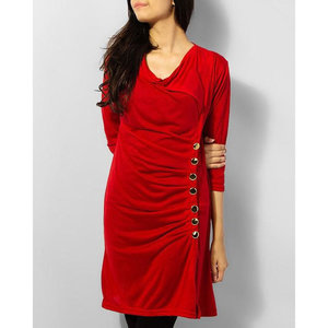 Embellish Button Tunic Fz Hs 0102 - Red