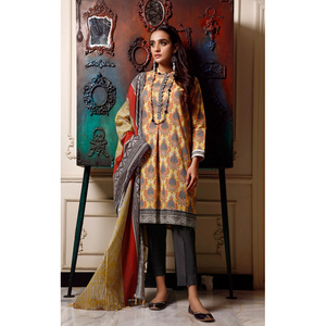 Oaks 3 Pcs Unstitched Suit for Women OL3P-3664-A Yellow