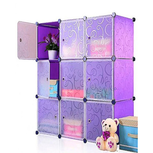 Oddity Diy 9 Cubes Elegant Stripe Storage Cabinet OD167 Purple