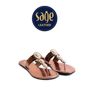 Stylish Leather Slipper for Women 9668 Copper