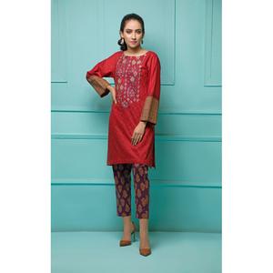 Oaks 2 Pcs Unstitched suit for Women OLE2PT-3396-B Red