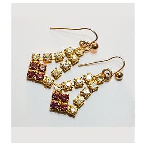 Gold Plated Drop Earrings for Women Purple