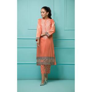 Oaks 2 Pcs Unstitched suit for Women OLE2PT-3390-A Peach