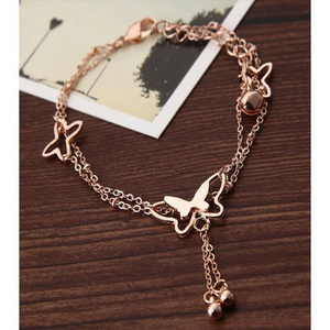 Elegant Butterfly Bell Anklets for Women Saa-003 Golden