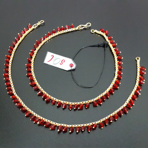 JOS Gorgeous Anklet with Red Drop Crystals Golden