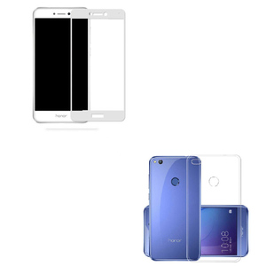 3D Tempered Glass Protector + Back Cover for Huawei Honor 8 Lite White