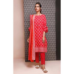 Oaks 2 Pcs Unstitched Suit for Women OL2P-3496-A Red