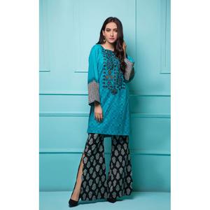 Oaks 2 Pcs Unstitched suit for Women OLE2PT-3396-A Blue