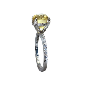 Zed Eye Creations Glowing Solitaire Yellow Topaz Ring For Women LCR008a Silver