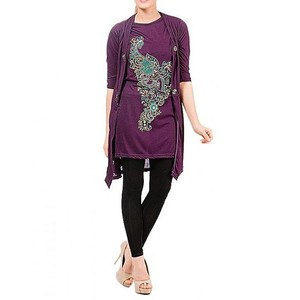 Purple Viscose Tunic For Women