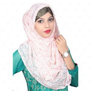 Women Net Hijab Pn060 Peach