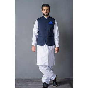 Sitara Studio Waist Coat for Men WAIST1-BLU Blue