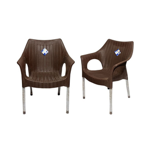 Venus Rattan Plastic Chair With Steel Legs Set of 2 TBL-TRL-128 Dark Brown