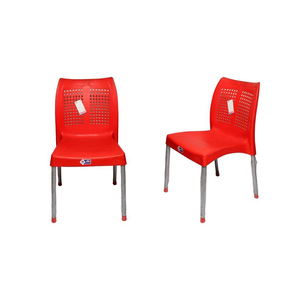 Venus Plastic Res Relaxo Chair With Steel Legs Set Of 2 TBL-TRL-122 Red