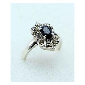 GILGIT BAZAR Sapphire Stone Ring GB1894 Black