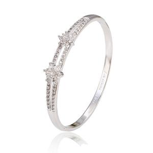 Zirconia Floron Bangle Bracelet for Women Silver