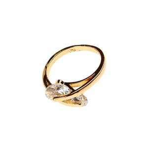 Gold Plated Double Zircon Stone Ring For Women R057 - Golden