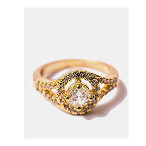 Jewellery Hut Elegant Gold Plated Zirconia Ring Fo ...