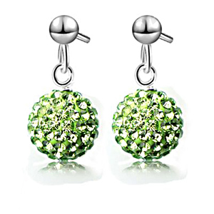 Pink Pearls Disco Ball Shaped Austrian Crystal Necklace and Earrings PE025H Green
