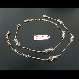 JOS Sparkling Anklet with White Crystal Golden