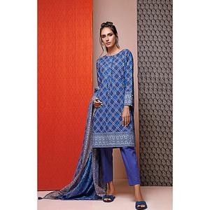 Oaks 2 Pcs Unstitched Suit for Women OL2P-3496-B Blue