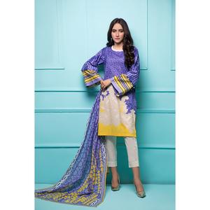 Oaks 3 Pcs Unstitched Suit for Women OL3P-3434-A Blue