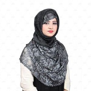Jersey Hijab For Women Pnl001 Black & Grey