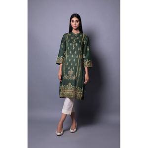 Oaks 2 Pcs Unstitched suit for Women OL2PT-3356-B Dark Green