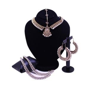 Antique Kundun Style Anklet, Matha Patti & Earrings Golden